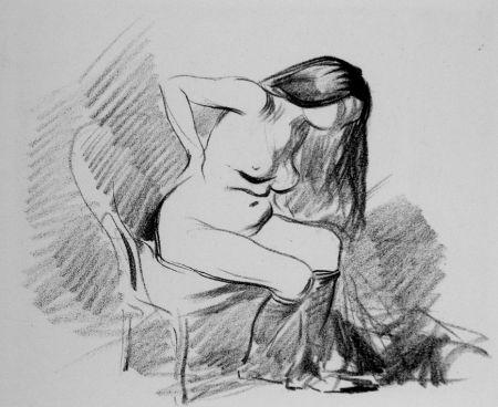 Litografía Forain - Etude de femme assise, se déshabillant