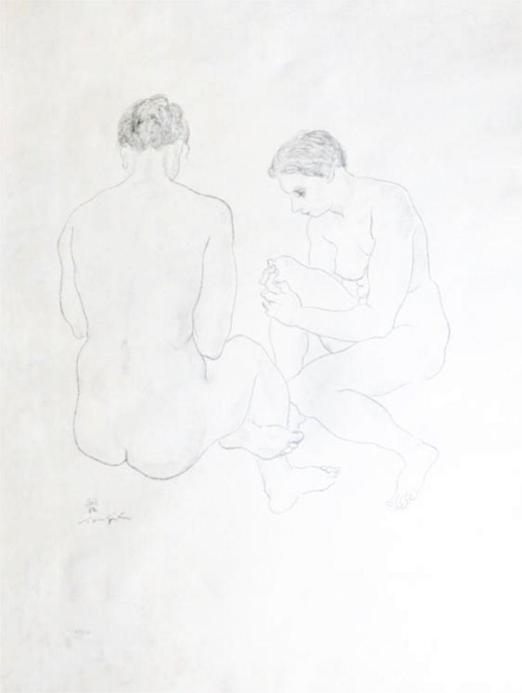 Litografía Foujita - Etude de Nus