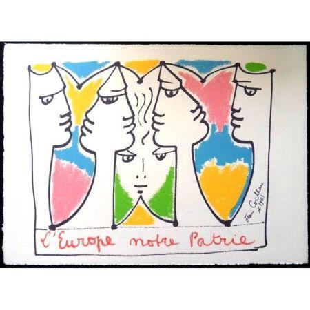 Litografía Cocteau - Europe Pont pour les Civilisations