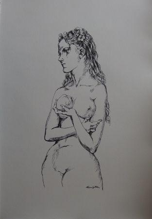 Litografía Foujita - Eve à la pomme