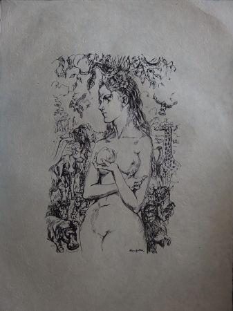 Litografía Foujita - Eve au Jardin d'Eden