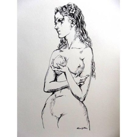 Litografía Foujita - Eve et la Pomme