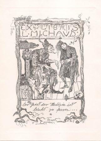 Grabado Klee - Ex Libris L. Michaud