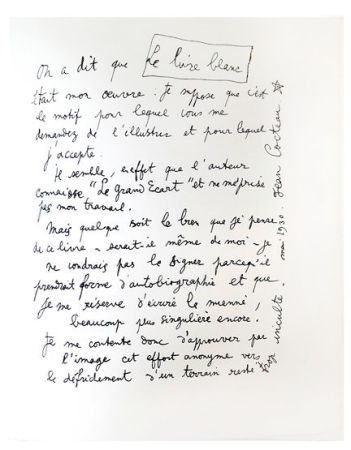 Litografía Cocteau - Explications
