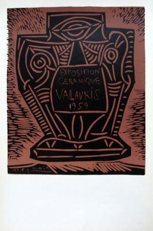 Linograbado Picasso - Exposition Ceramique Vallauris 1959