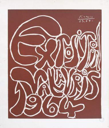 Linograbado Picasso - '' Exposition Vallauris 1964 ''