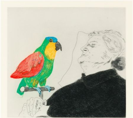 Aguafuerte Hockney -  Félicité sleeping with Parrot. 1974
