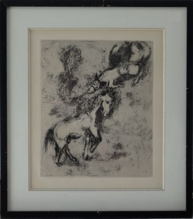 Aguafuerte Chagall - Fables de la Fontaine - Le cheval et l'âne