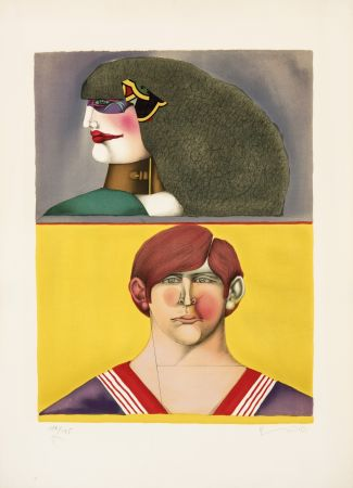 Litografía Lindner - Face et profil