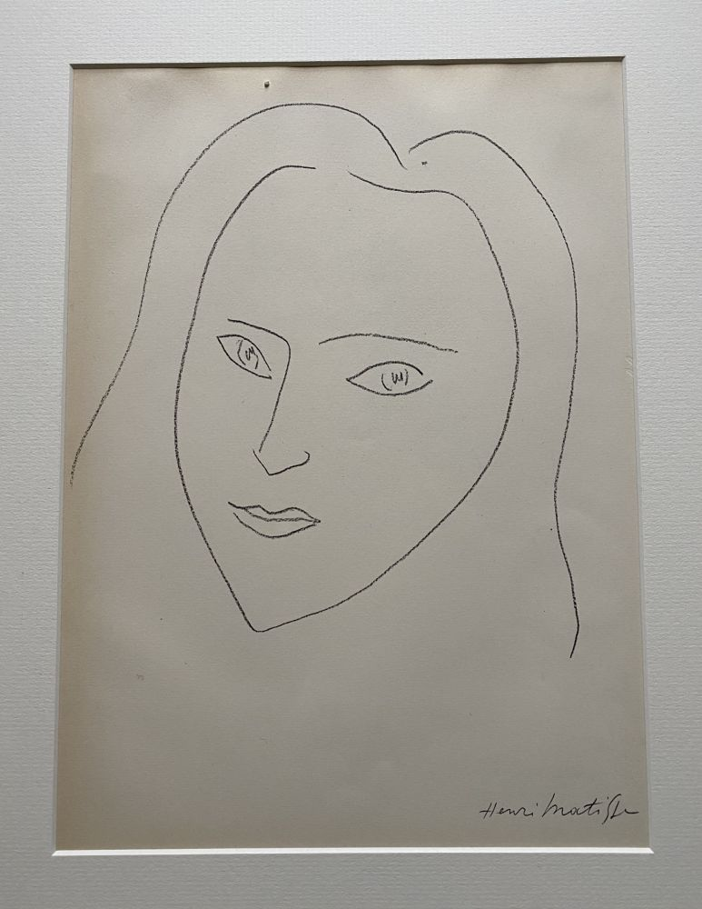 Litografía Matisse (After) - Facing Woman's  portrait with long hair