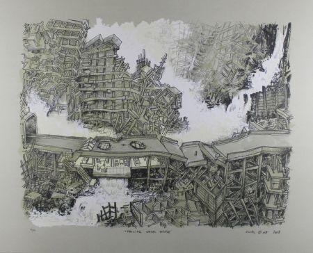 Litografía Oiwa - Falling Water House