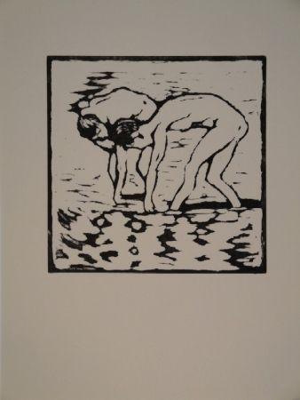 Grabado En Madera Giacometti - Fanciulli nel lago, Alberto und Diego im Silsersee