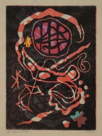 Linograbado Nebel - Farbiger Linolschnitt, zum Teil handkoloriert.
