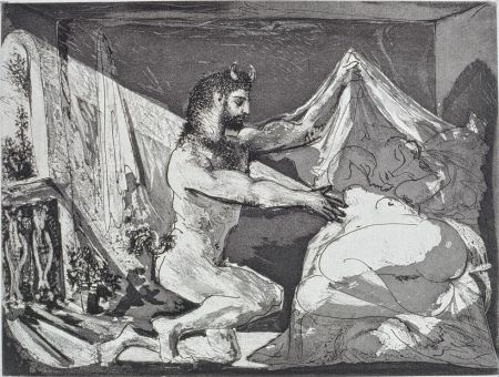 Aguafuerte Y Aguatinta Picasso - Faune dévoilant une femme