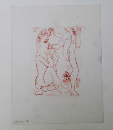 Grabado Picasso -  Faune Et Bacchante , Avec Combat De Faunes