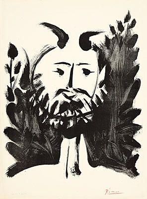 Litografía Picasso - Faune souriant