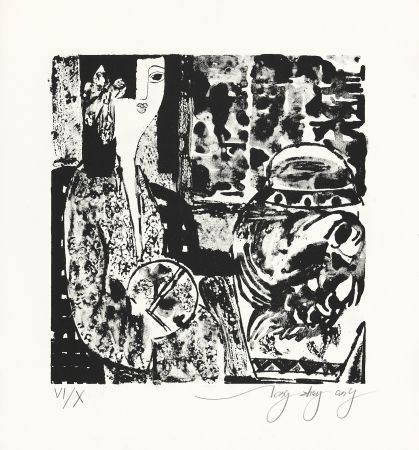 Litografía Tongzhengang - Femme à l'éventail