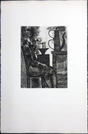 Grabado Gromaire - Femme à la cafetière (Chacographie du Louvre)