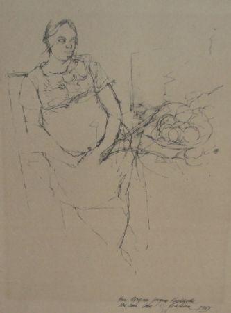 Litografía Szafran - Femme à la coupe de fruits