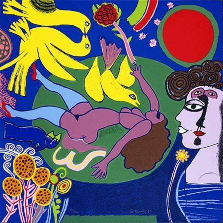 Serigrafía Corneille - Femme à la fleur
