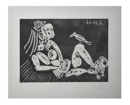 Litografía Picasso - Femme à l'oiseau
