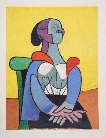 Litografía Picasso - Femme A La Chaise Sur Fond Jaune, 9-C