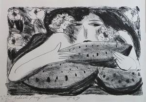 Litografía Ting - Femme a la Pasteque,