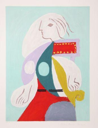 Litografía Picasso - Femme A La Robe Multicolore