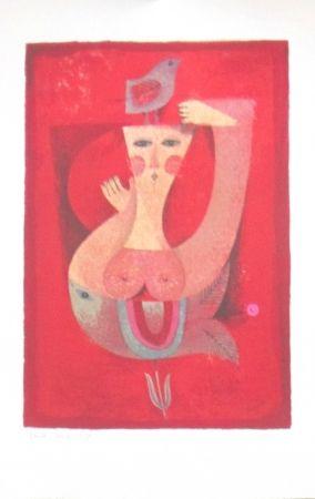 Litografía Briss - Femme a l'oiseau