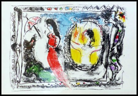 Litografía Chagall - FEMME A L'OMBRELLE