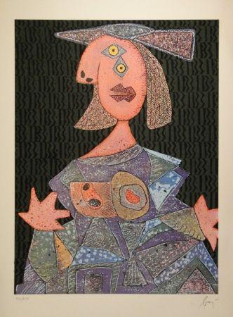 Aguafuerte Y Aguatinta Baj - Femme assise