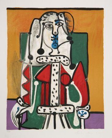 Litografía Picasso - Femme Assise A La Robe D'Hermine