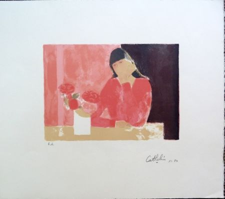 Litografía Cathelin - Femme au Bouquet de Roses