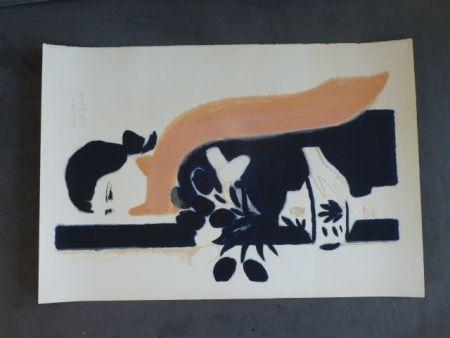 Litografía Brasilier - Femme au châle