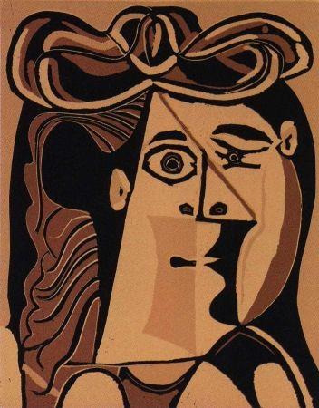Linograbado Picasso - Femme au Chapeau