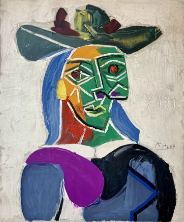 Litografía Picasso - Femme au Chapeau