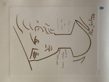 Litografía Cocteau - Femme au chapeau
