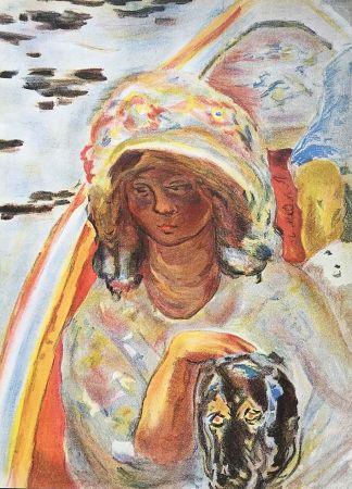 Litografía Bonnard - Femme au chien dans une barque