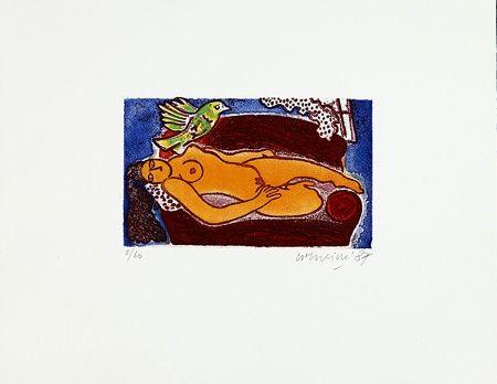 Grabado Corneille - Femme au divan rouge