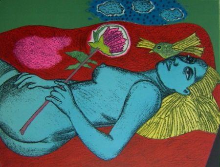 Litografía Corneille - Femme au fleur australien