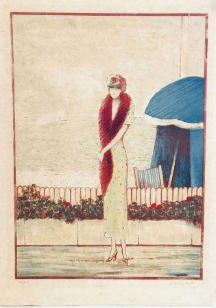 Litografía Cassigneul  - Femme au Fox