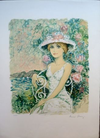 Litografía Charoy - Femme au Jardin