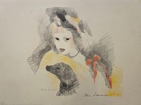 Litografía Laurencin - Femme avec chien