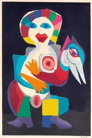 Litografía Appel - Femme avec Oiseau