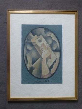 Litografía Lhote - Femme cubiste pensive