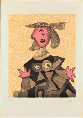 Aguafuerte Y Aguatinta Baj - Femme d'après Picasso