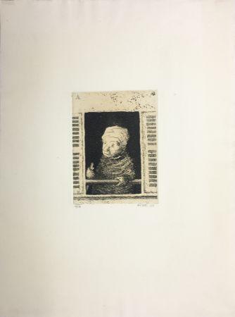 Aguatinta Avati - Femme de ménage à la fenêtre (1951)