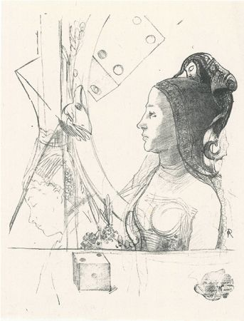 Litografía Redon - Femme de profil, coiffée d'un hénin