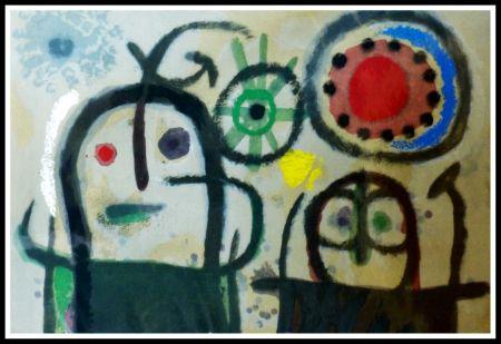 Pochoir Miró (After) - FEMME EN PRIERE DEVANT LE SOLEIL