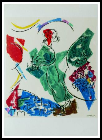 Litografía Chagall (After) - FEMME EN VERT